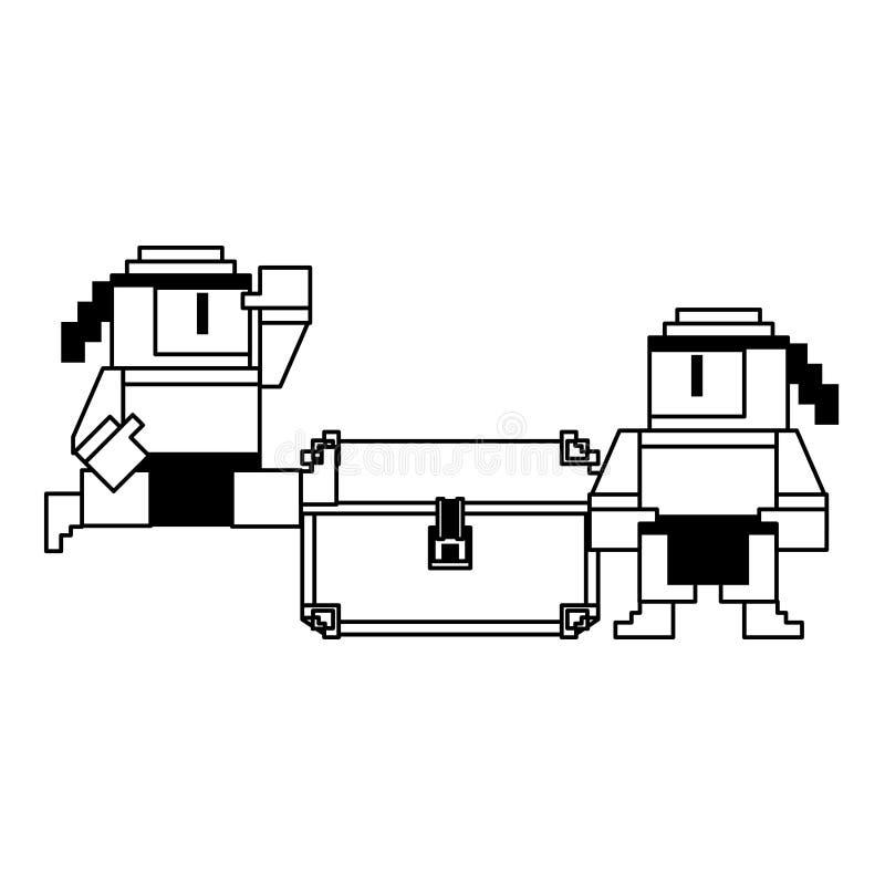 Videogamen pixelated ninjasteckensymbol royaltyfri illustrationer