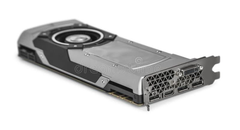 Videografikkarte mit starkem GPU lokalisiert auf weißem Hintergrund lizenzfreie abbildung