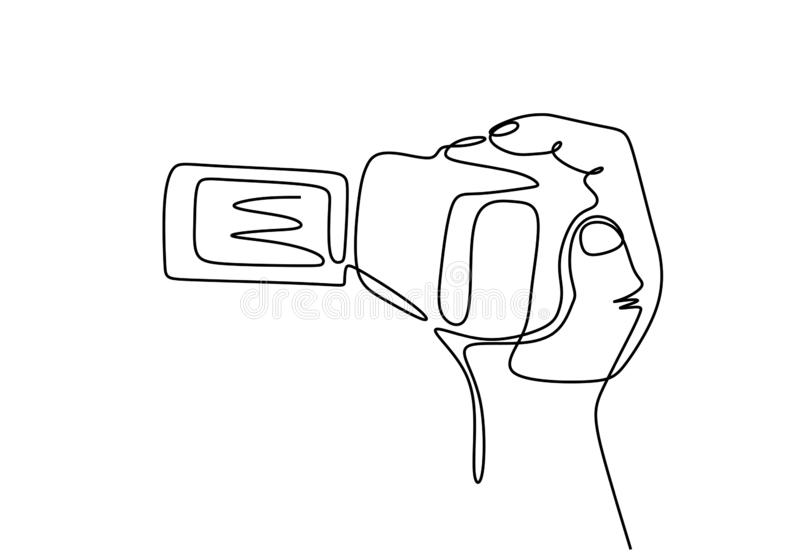 Videographer. Continuous line drawing. Isolated on the white background. Digital handycam or camrecorder video camera stock illustration