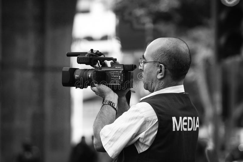 Videographer di media immagine stock