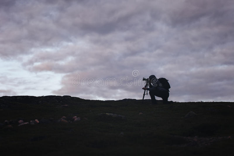 Videographer Photographer Works in the Mountains royalty free stock photos