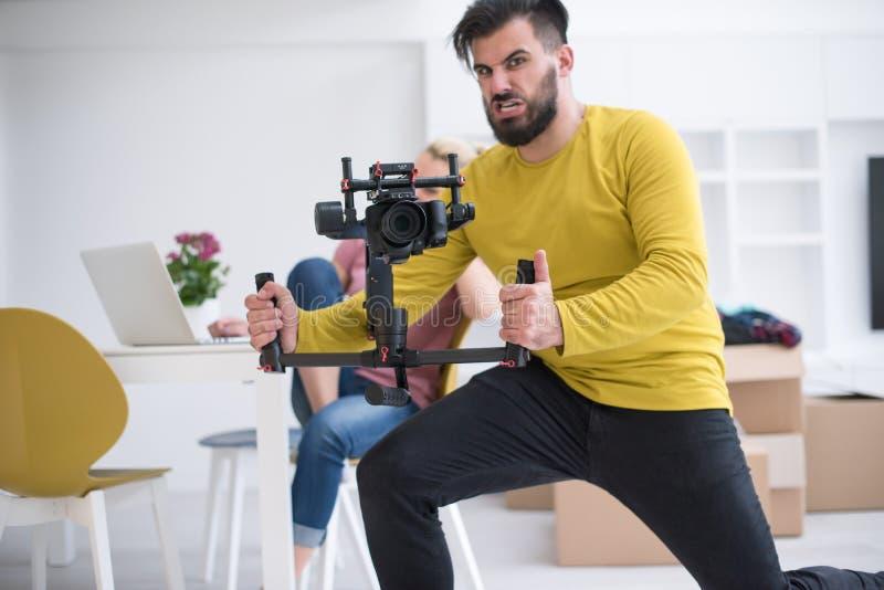 Videographer at work stock photos