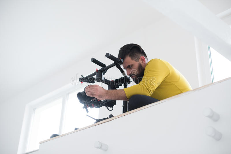 Videographer at work royalty free stock photos