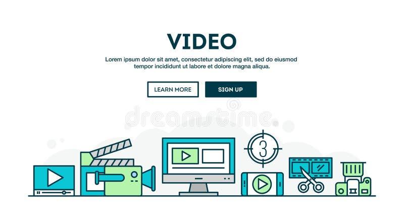 Videoherstellung, bunter Konzepttitel, dünne Linie Schweinestall des flachen Designs vektor abbildung