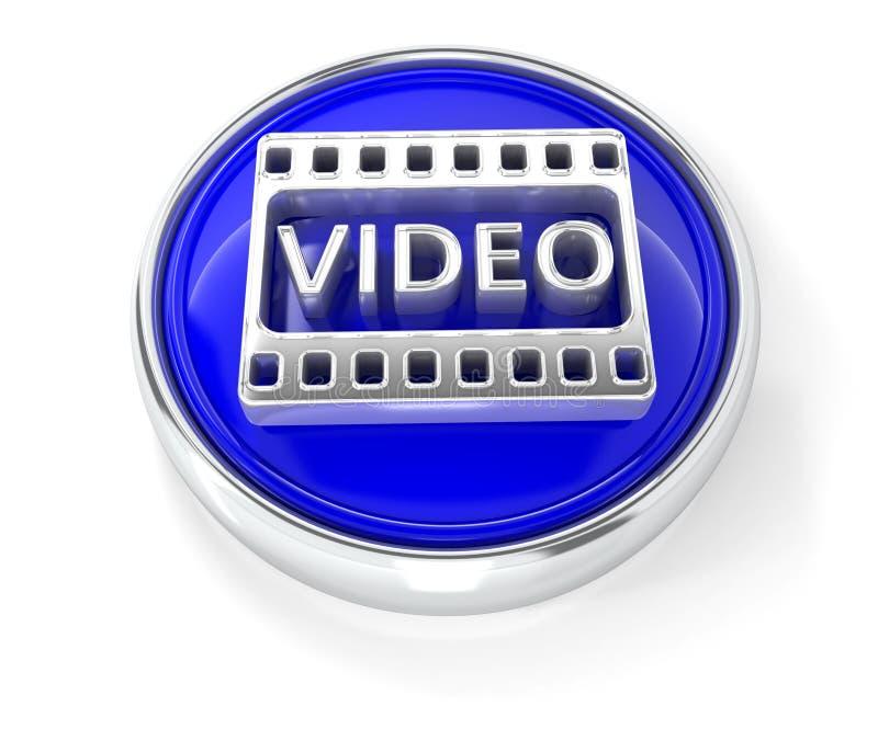 Videoikone auf glattem blauem rundem Knopf stock abbildung