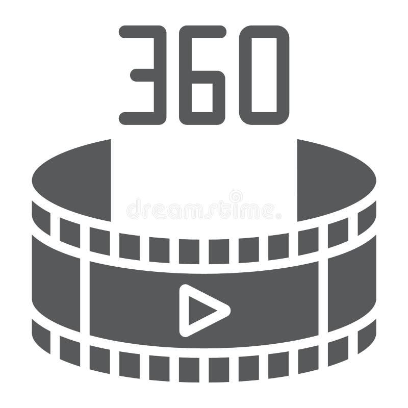 Videoikone des glyph 360, Rotation und Ansicht, panoramisches Videozeichen, Vektorgrafik, ein festes Muster auf einem weißen Hint vektor abbildung