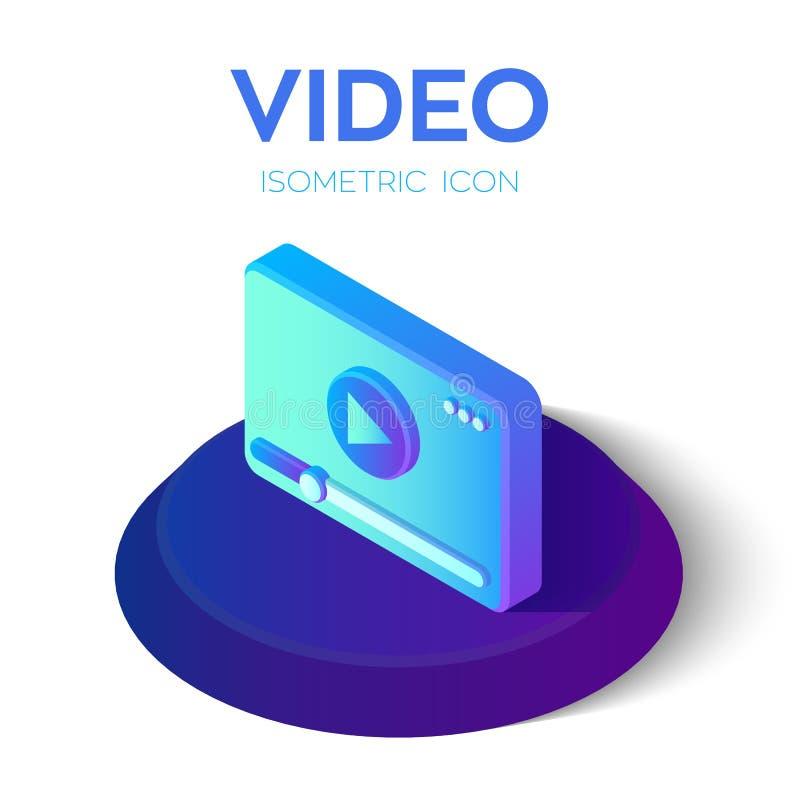 Videoikone isometrisches Videozeichen 3D Geschaffen für Mobile, Netz, Dekor, Druck-Produkte, Anwendung Vervollkommnen Sie für Web vektor abbildung