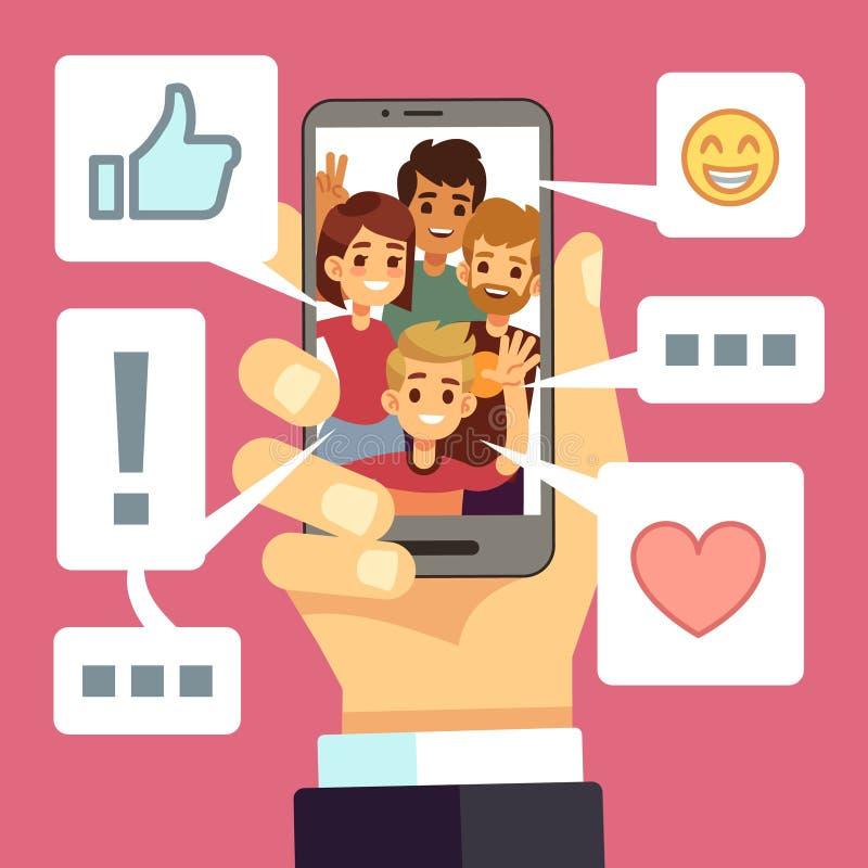 Videoinhoud die op het smartphonescherm delen De vrienden becommentariëren en houden van vlog Video het stromen vectorconcept stock illustratie
