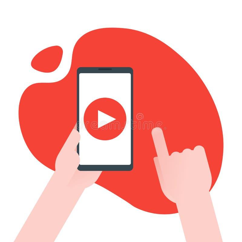 Videoinhoud marketing concept De zakenman houdt smartphone met spelknoop voor en bereikzaken die, online opleiden leren, stock illustratie
