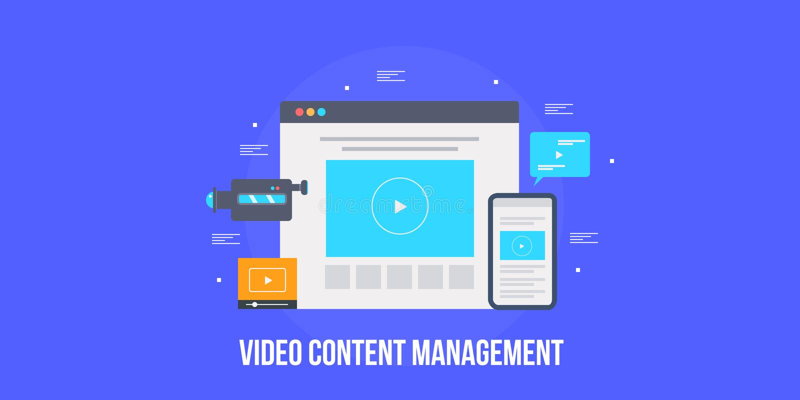 Videoinhoudsbeheer, video marketing, videoinhoud, sociale media, marketing concept Vlakke ontwerp vectorbanner stock illustratie