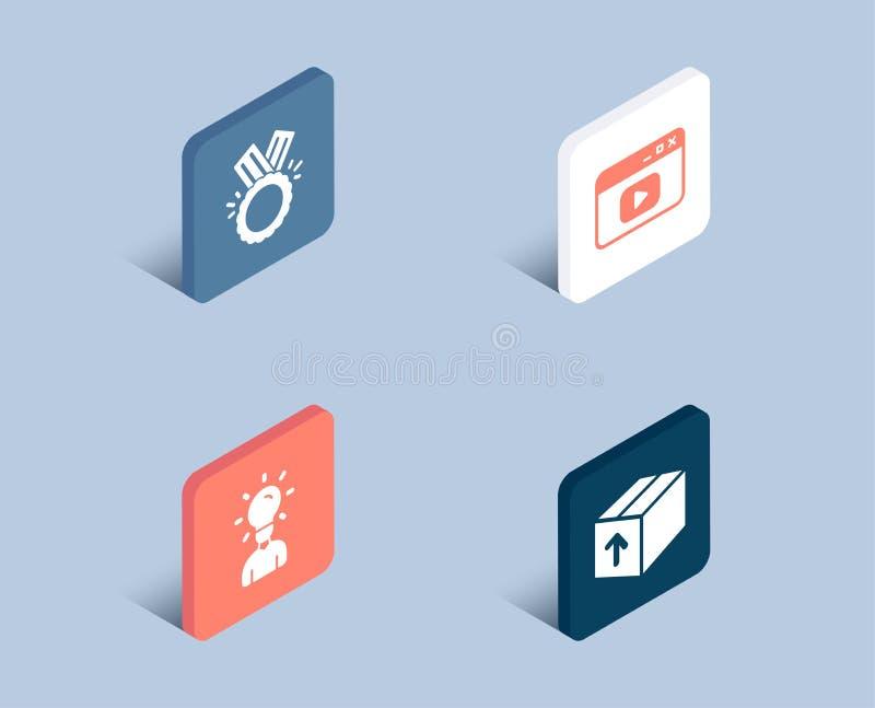 Videoinnehåll, heder- och utbildningssymboler Packetecken Webbläsarefönster, medalj, mänsklig idé Leveranspacke vektor illustrationer