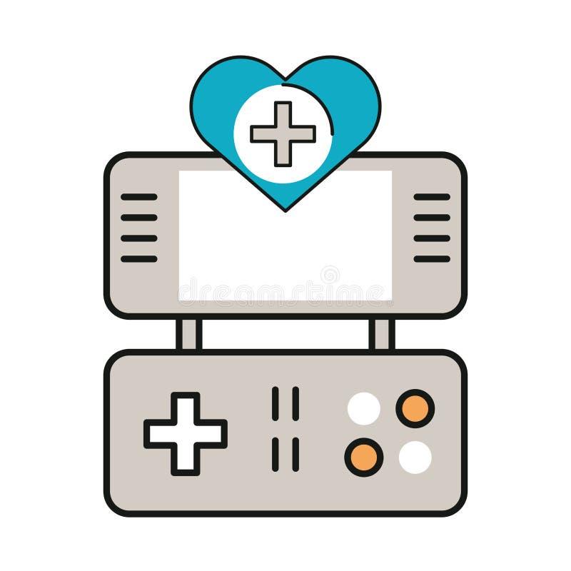 Videojuego portátil con corazón foto de archivo libre de regalías
