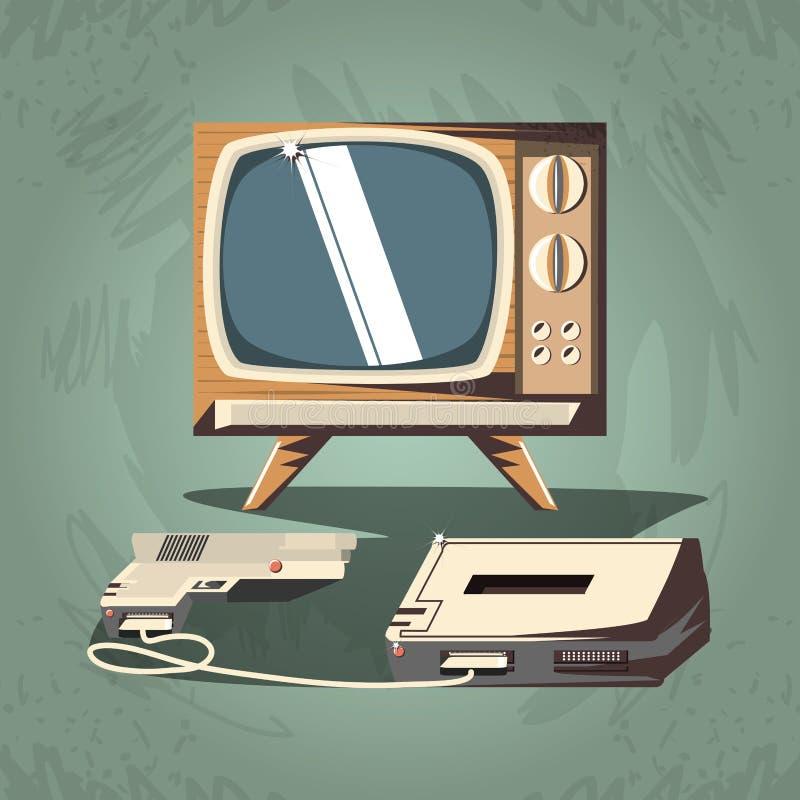 Videojuego retro con la TV stock de ilustración
