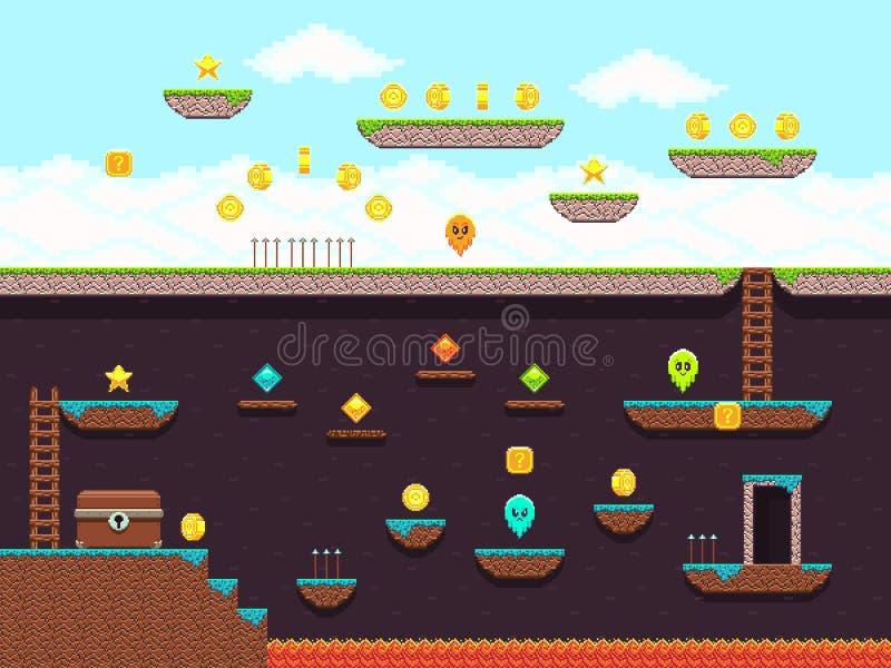 Videojuego retro del platformer, pantalla del juego del vector libre illustration