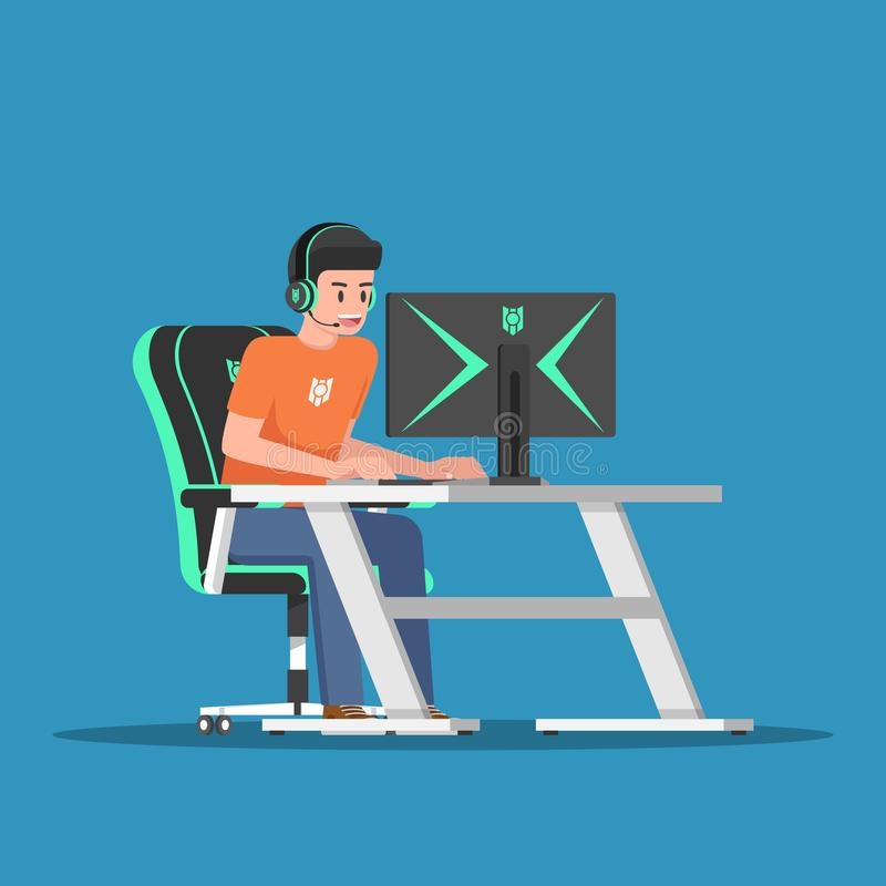 Videojugador joven que juega al juego en el equipo de escritorio con el engranaje del juego libre illustration