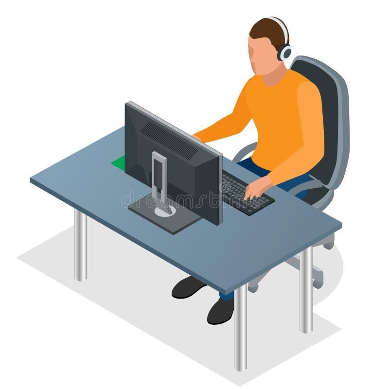Videojugador que juega en la PC Videojugador joven concentrado en auriculares y vidrios usando el ordenador para jugar al juego H stock de ilustración