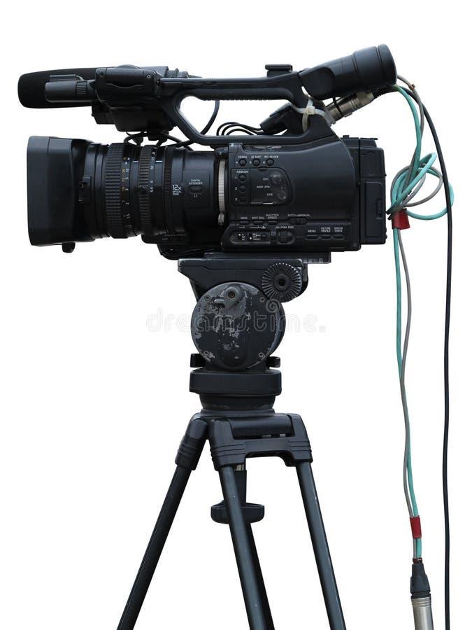 Videokamera för yrkesmässig studio för TV som digital isoleras på vit arkivbilder