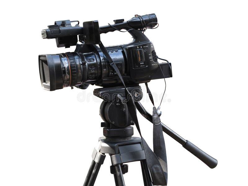 Videokamera för yrkesmässig studio för TV som digital isoleras på vit royaltyfria bilder