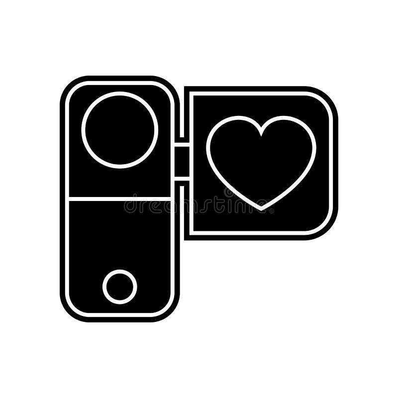 videokamera med hj?rtasymbolen Best?ndsdel av valentin f?r mobilt begrepp och reng?ringsdukappssymbol Sk?ra plan symbol f?r websi vektor illustrationer
