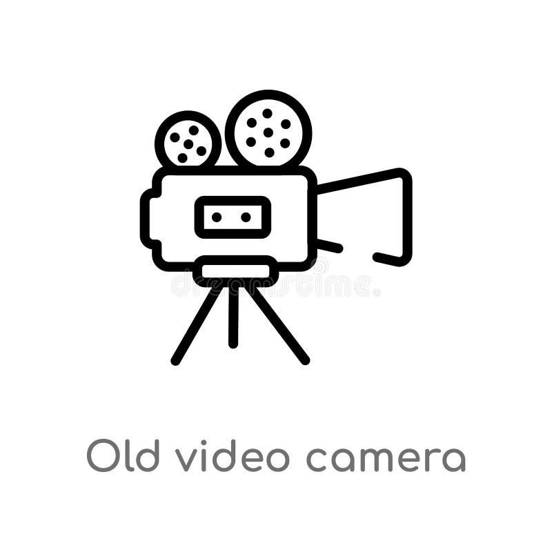Videokamera-Vektorikone des Entwurfs alte lokalisiertes schwarzes einfaches Linienelementillustration vom elektronischen Material lizenzfreie abbildung