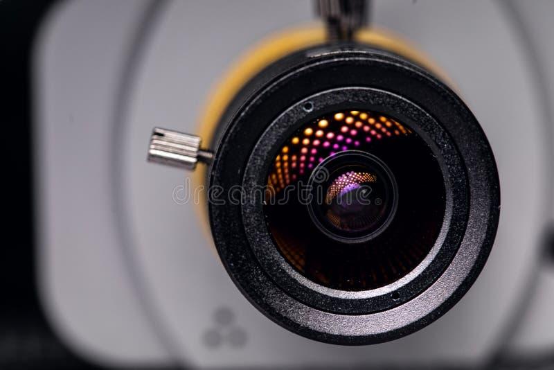 Videokameralinsennahaufnahme Überwachung rund um die Uhr stockfoto