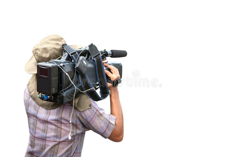 Videokameramanoperatör som isoleras på vit bakgrund, med gemet royaltyfri bild