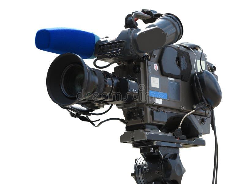 Videokameran för den yrkesmässiga studion för TV isolerade den digitala på tripoden nolla royaltyfria bilder