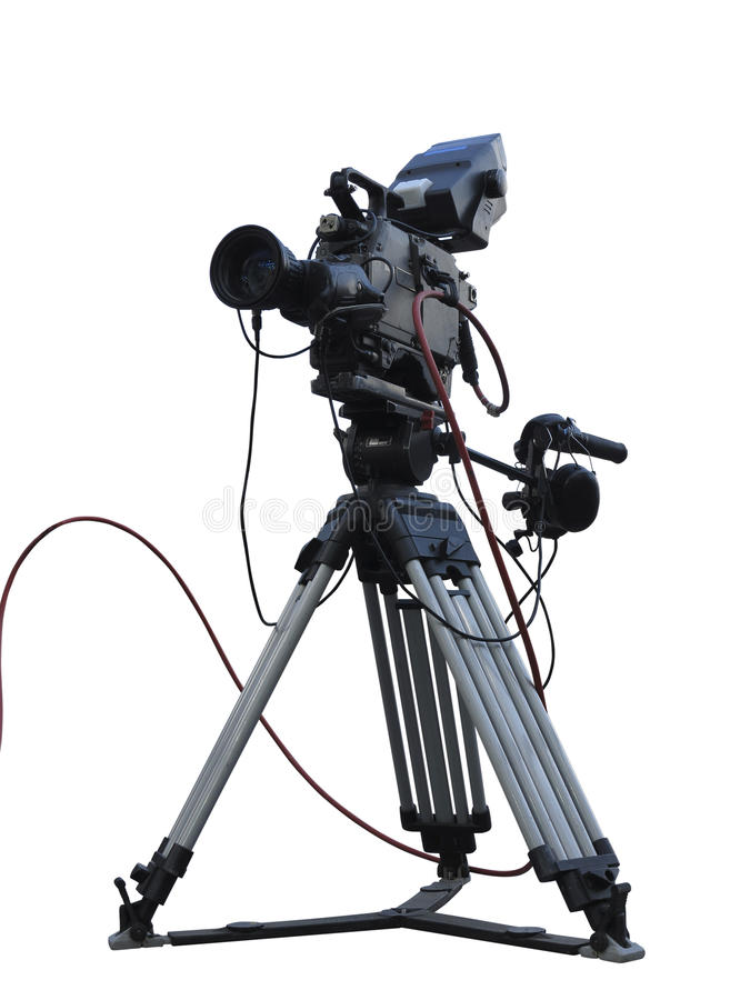 Videokameran för den yrkesmässiga studion för TV isolerade den digitala på tripoden nolla royaltyfria foton