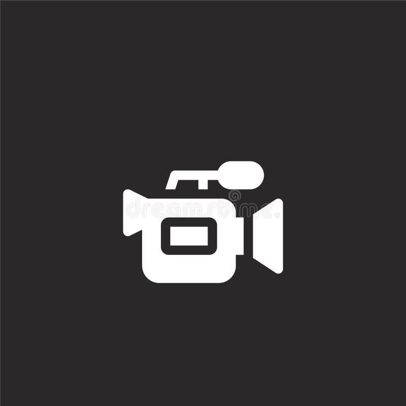 Videokamerasymbol Fylld videokamerasymbol för websitedesignen och mobilen, apputveckling videokamerasymbol från fylld nyheterna stock illustrationer