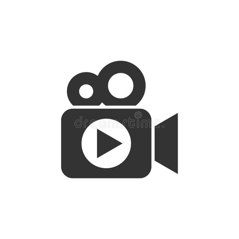 Videokamerasymbol i plan stil Illustration för filmlekvektor vektor illustrationer