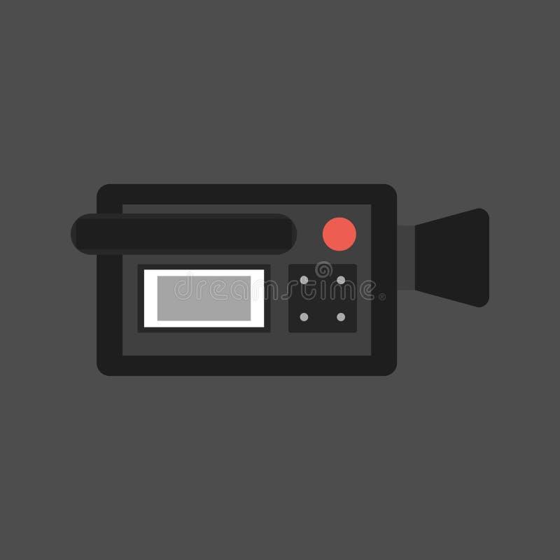Videokamerasymbol på en grå bakgrund En av uppsättningrengöringsduksymbolerna också vektor för coreldrawillustration royaltyfri illustrationer