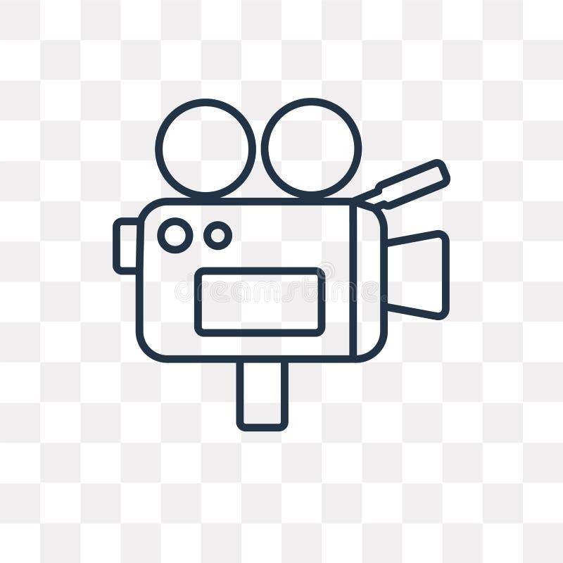 Videokameravektorsymbol som isoleras på genomskinlig bakgrund, lin vektor illustrationer