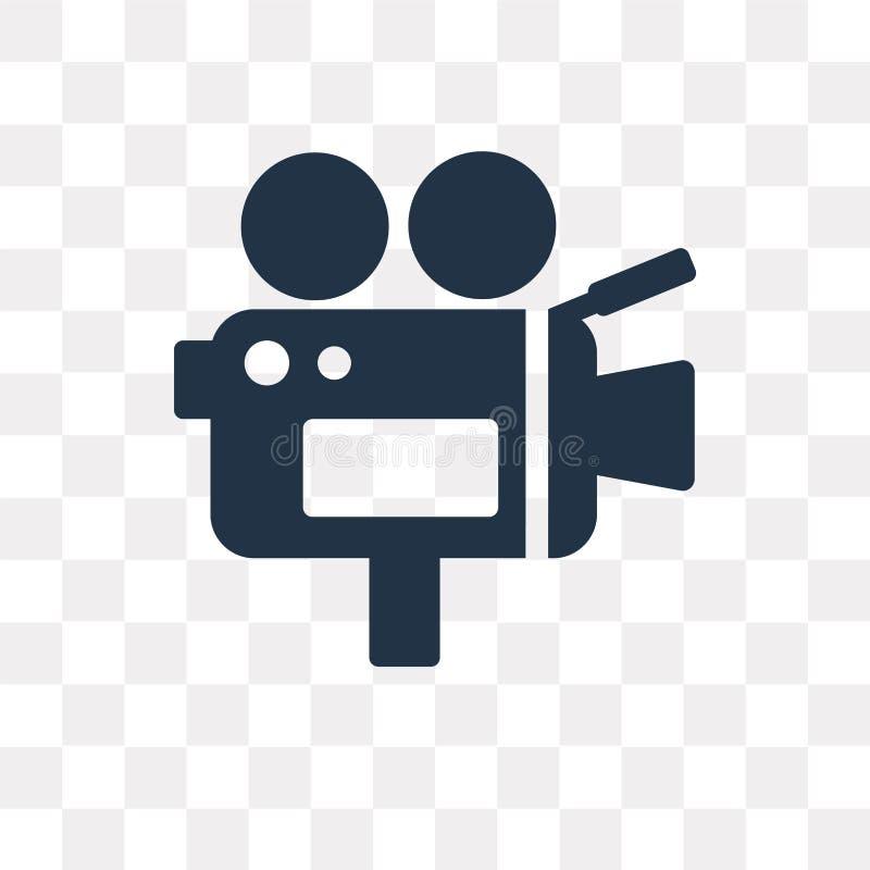 Videokameravektorsymbol som isoleras på genomskinlig bakgrund, Vid royaltyfri illustrationer