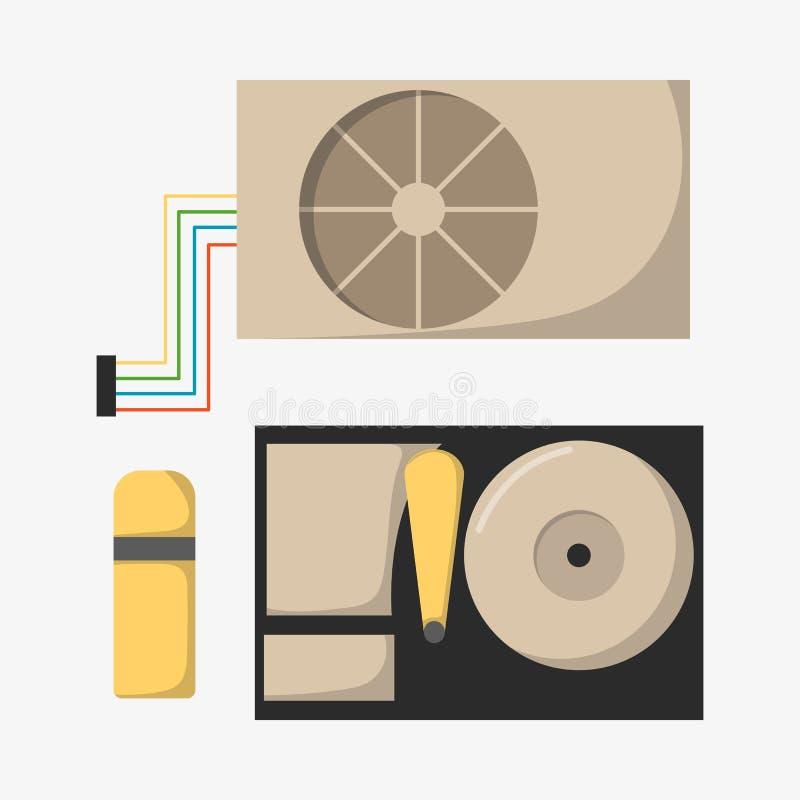Videokarte mit drei ErtragComputertechnologie-Ausrüstungsgraphiken digitale Werkzeug und Halbleiter schwarze Videokarte vga vektor abbildung