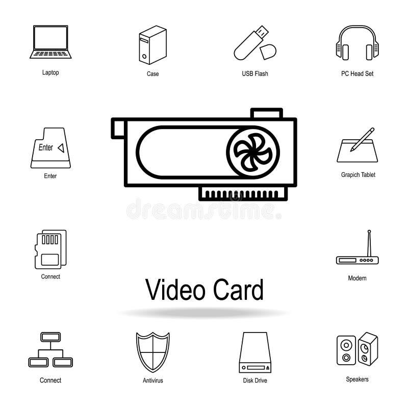 Videokarteikone Ausführlicher Satz Computerteilikonen Erstklassiges Grafikdesign Eine der Sammlungsikonen für Website, Webdesign lizenzfreie abbildung