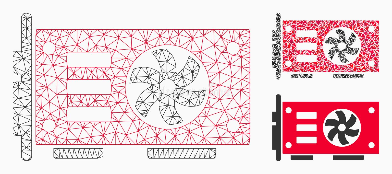 Videokarten-Vektor Mesh Network Model der graphik-GPU und Dreieck-Mosaik-Ikone vektor abbildung