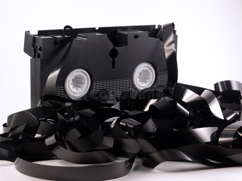Videokassette abgewickelt lizenzfreies stockfoto