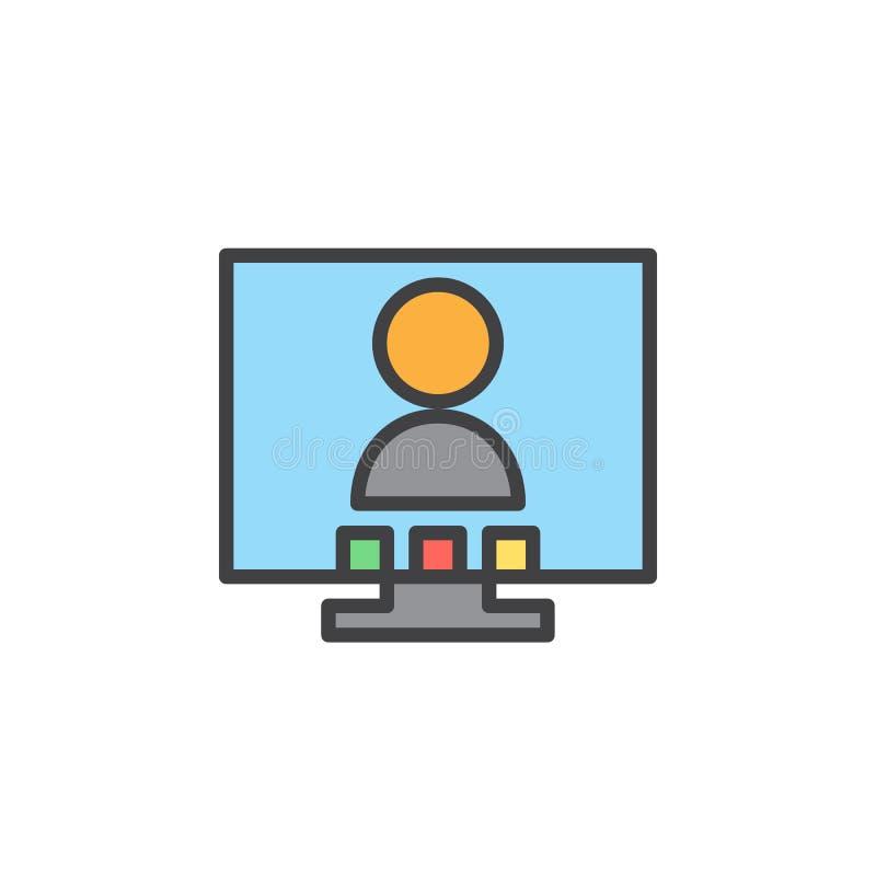Videokonferensen fyllde översiktssymbolen, linjen vektortecknet, linjär färgrik pictogram royaltyfri illustrationer