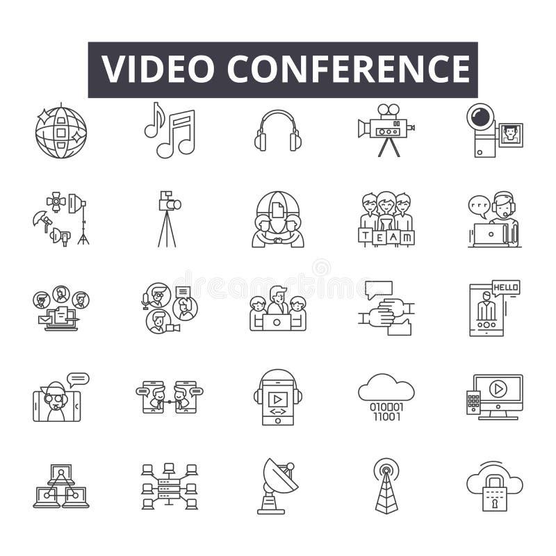 Videokonferenslinje symboler, tecken, vektoruppsättning, översiktsillustrationbegrepp stock illustrationer