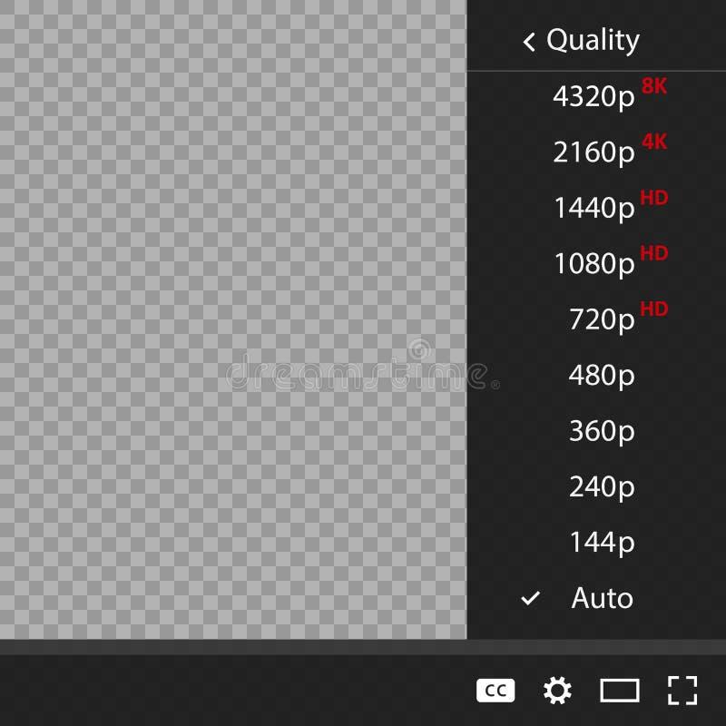 Videokwaliteit of film Vastgestelde kwaliteit 144 vóór 8K stock illustratie