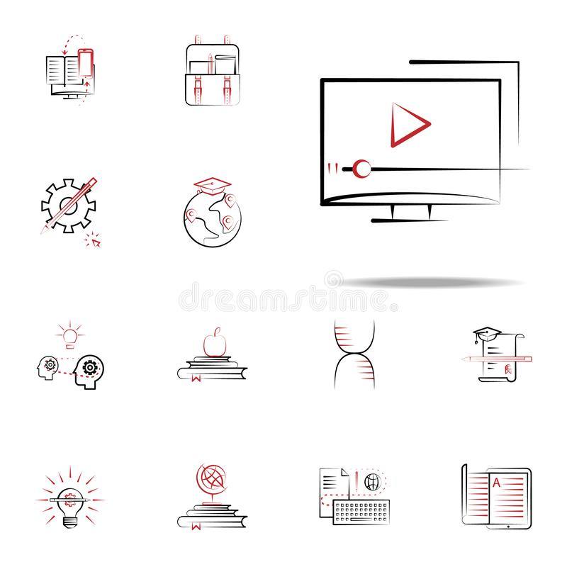 Videoleerprogramma'spictogram Voor Web wordt geplaatst dat en het mobiele algemene begrip van onderwijspictogrammen stock illustratie