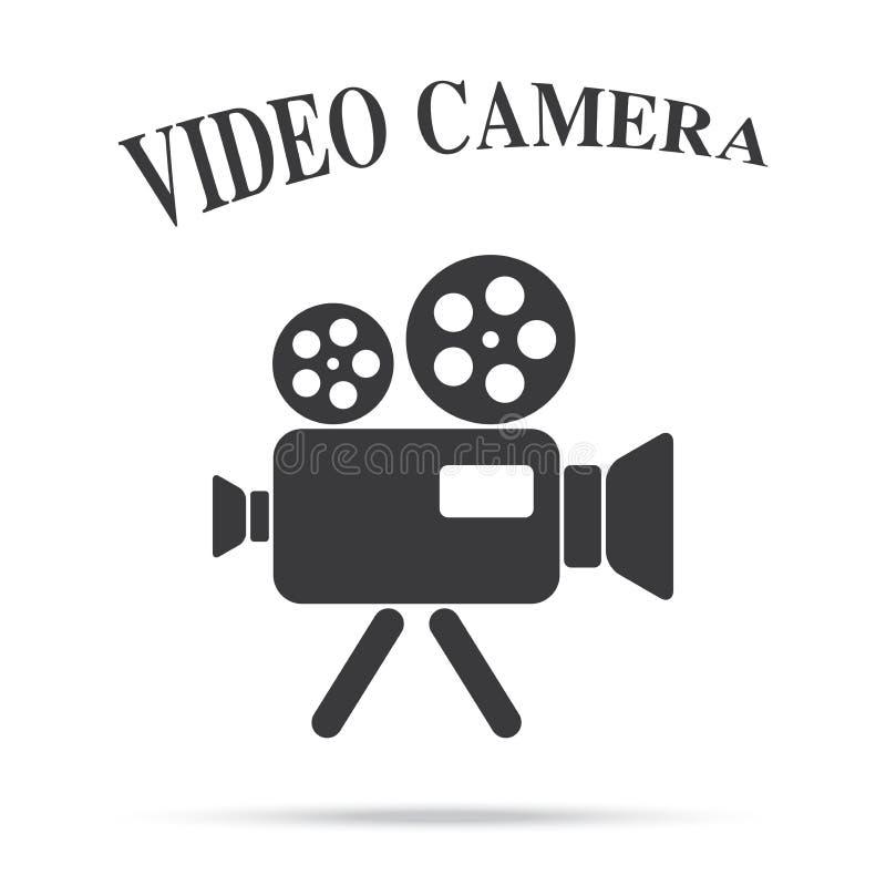 Videolokalisierter Hintergrund der filmkamera-Weinlese Ikone lizenzfreie stockfotografie