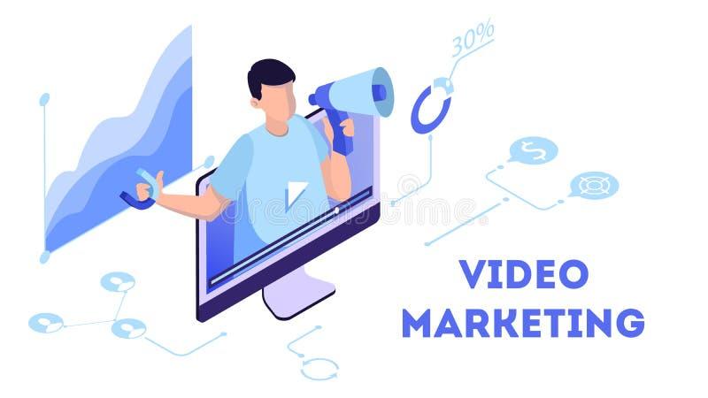 Videomarketing-Konzept Werbung im Internet durch Video vektor abbildung