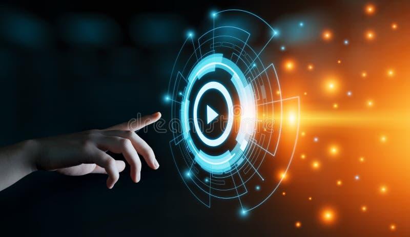 Videomarketing-Werbungs-Geschäfts-Internet-Technologie-Konzept lizenzfreies stockbild