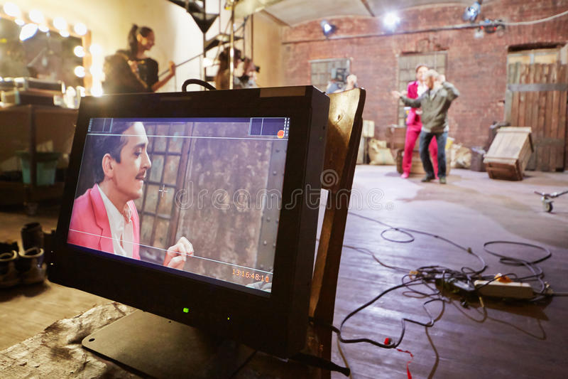 Videomonitor på filmuppsättningen av det musikaliska gemet royaltyfri foto