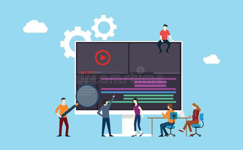 videopn animering- eller filmproduktionlag som tillsammans arbetar på kontoret genom att använda programvaruutveckling royaltyfri illustrationer