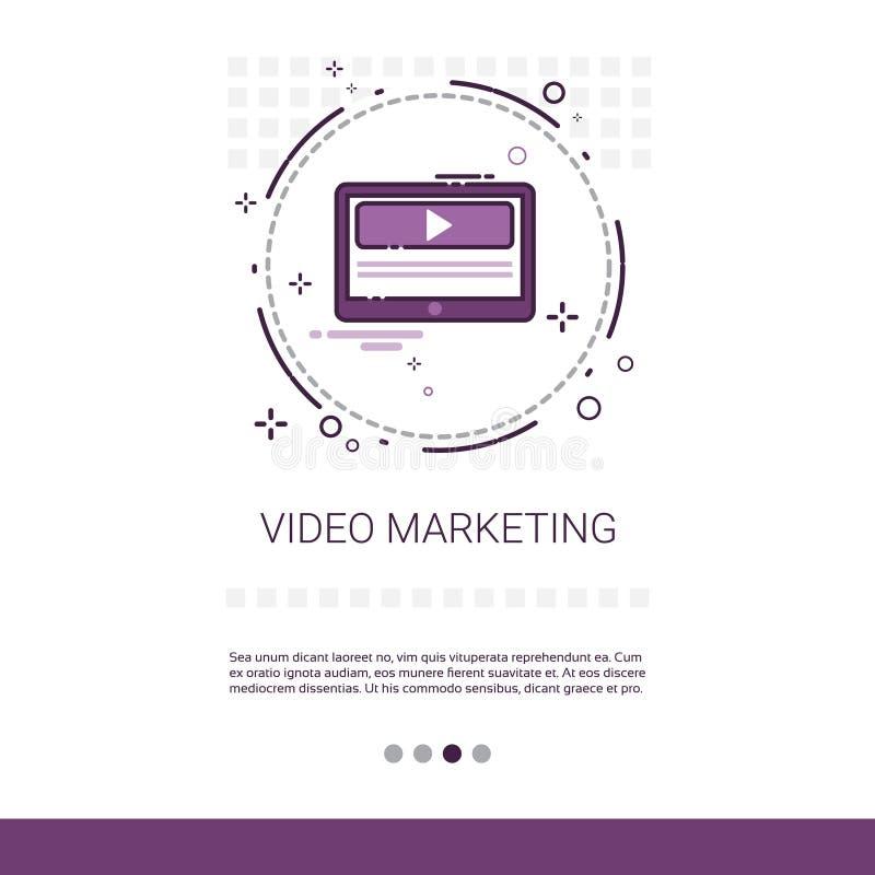Videopn baner för rengöringsduk för Digital marknadsföringsaffär med kopieringsutrymme royaltyfri illustrationer
