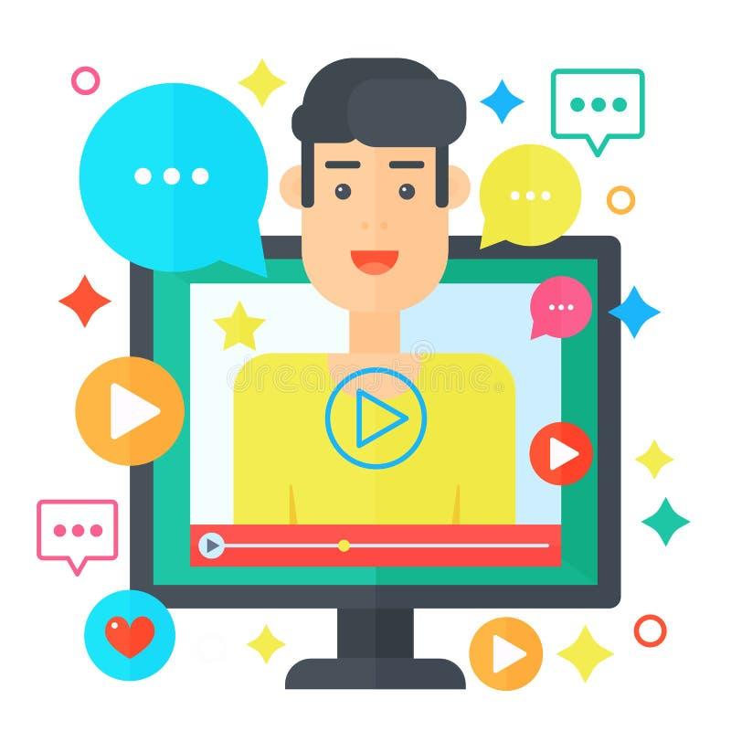 Videopn bloggerbegrepp Datorskärm med manbloggeren Personlig illustration för vektor för kanalradioutsändninglägenhet royaltyfri illustrationer
