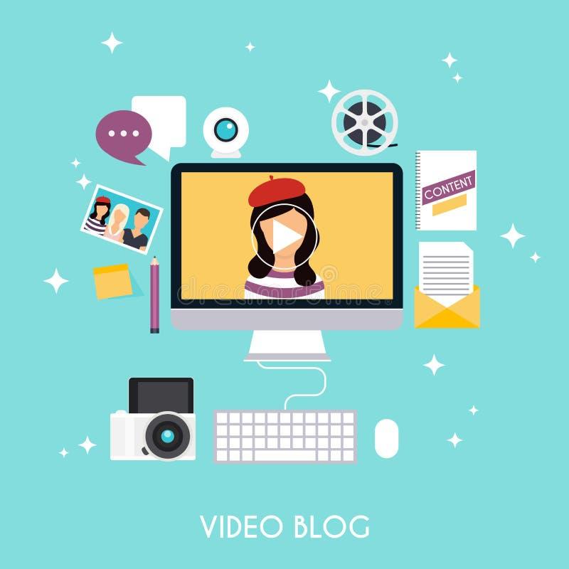 Videopn blogging begrepp Blogging infographics för mall Blogg vektor illustrationer