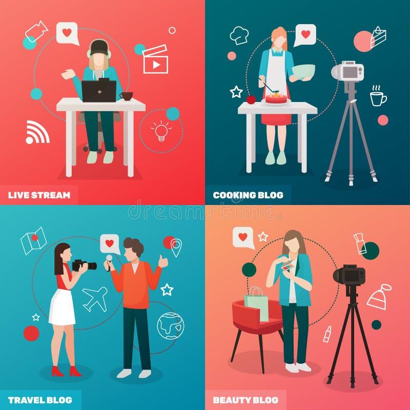Videopn Blogging designbegrepp royaltyfri illustrationer